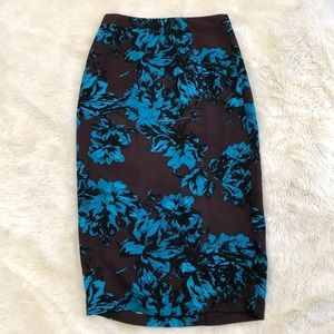 🦋 Who What Wear Floral Pencil Skirt Brown & Blue